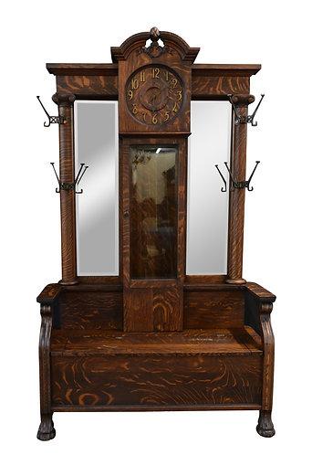 "Rare, Oak Clock Hall Seat  84""h x 47""w"