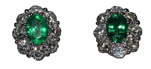 Emerald Earrings 1.41ct/ Dia- 2.46ct