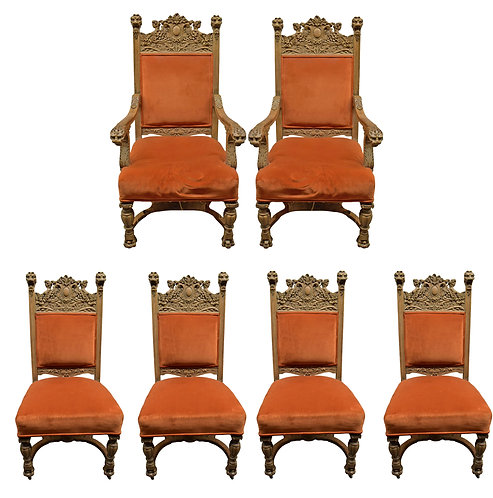 Rare, Set of 6 Carved Oak Chairs w/ Ladies Heads