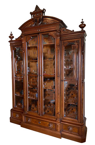 4 Door Walnut Victorian Bookcase