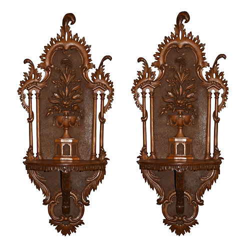 "Walnut Fine Carved Wall Plaques 39""h x 17""w"