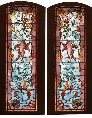 """Pair of Stained Glass Windows 23""""w x 77""""h each ( Window Size)"""