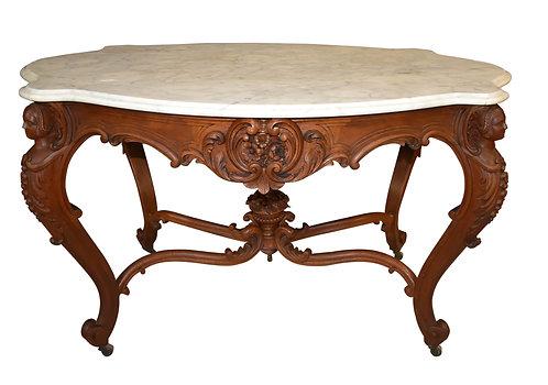 Walnut Marble Turtle Top Table w/ Ladies