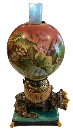Majolica Lamp w/ Dog