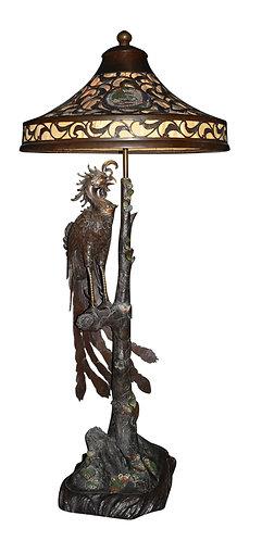 "Rare, Bronze Cockatoo Lamp 49""h x 24""w"