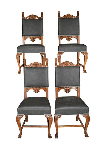 Set of 4 Oak Lion Head Chairs