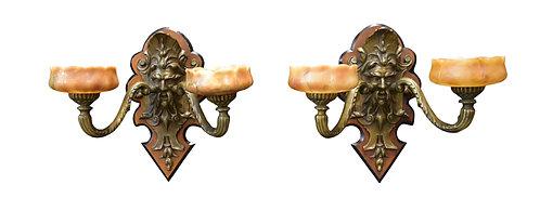 Bronze Sconces w/ Alabaster Shades