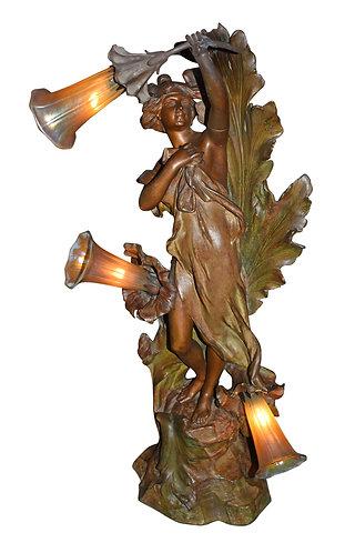 Art Nouveau 3 Light Statue Lamp