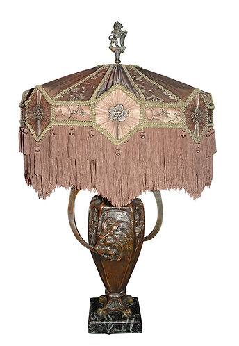 Lamp w/ Embossed Lion Head and Silk Shade