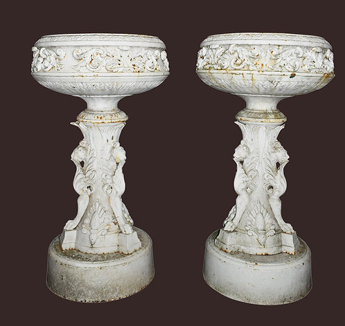 "Victorian Cast Iron Planters 54""h x 30""w each"