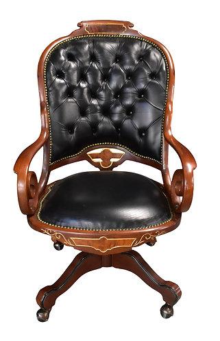 Walnut Office Chair w/ Black Leather