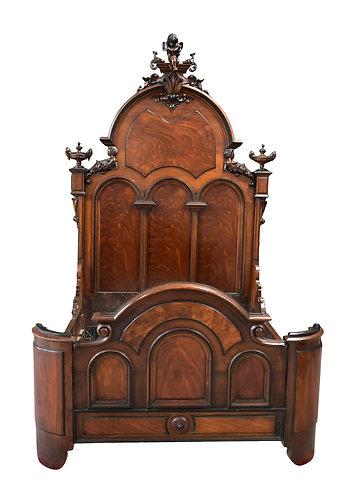 """Carved Walnut Bed w/ Cherub 60""""w x 104""""h"""