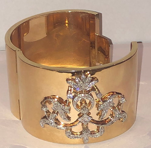 Diamond and Gold Cuff Bracelet 2.15 cts