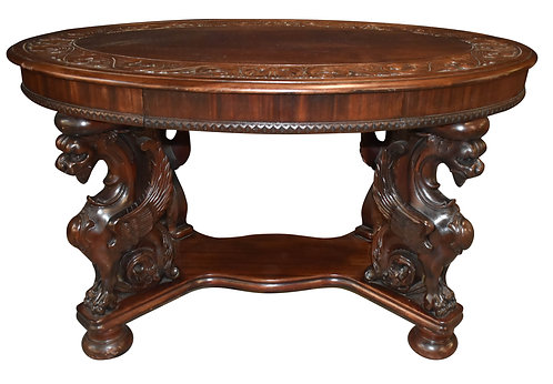 Mahogany Oval Griffin Library Table