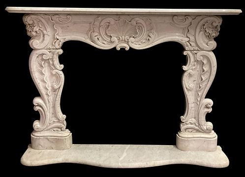 "19th Century Carrara Marble Mantel 52""h x  70""w(Outside)  40""w x 38""h ( Inside)"