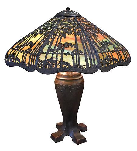 "Rare, Blue Colored Handel Palm Tree Lamp 24"""