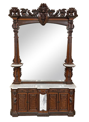 Philadelphia Carved Mirror w/ Marble Top Console Base