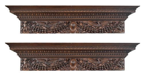 Important Pair of Historical Walnut Over the Door Cornices w/ Provenance