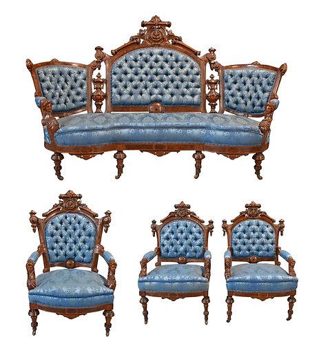 4 Pc Victorian Renaissance Parlor Suite Attr: J. Jelliff