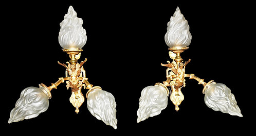 Pair of Bronze Winged Lady Wall Sconces