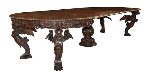 Carved Oak Winged Lady Dining Table