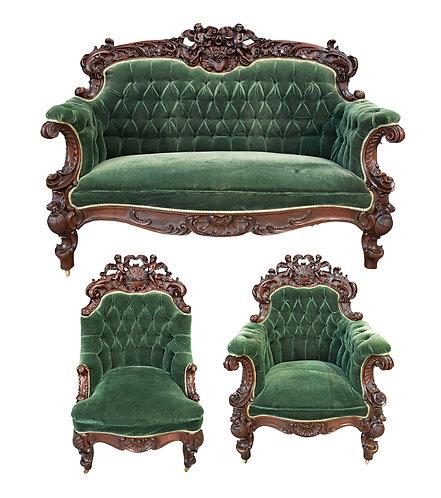 Mahogany Cherub Parlor Suite by Karpen Furniture