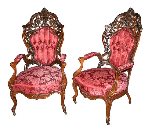 Pair of Arm Chairs by J&JW Meeks, Hartford Pattern