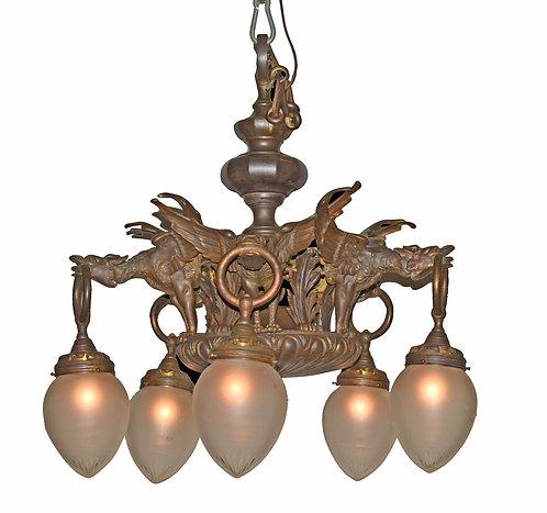 19th Century Bronze Griffin Chandelier w/ Matching Sconces