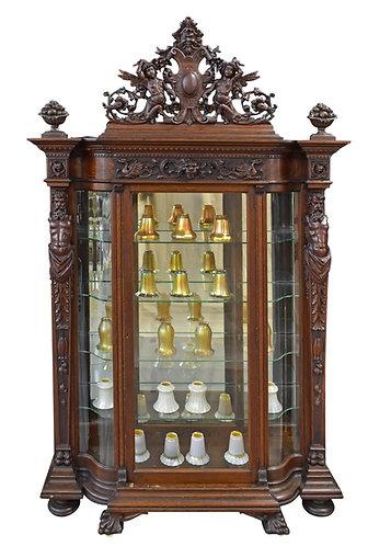 """R.J. Horner Oak Crystal Cabinet 96""""h x 55""""w"""