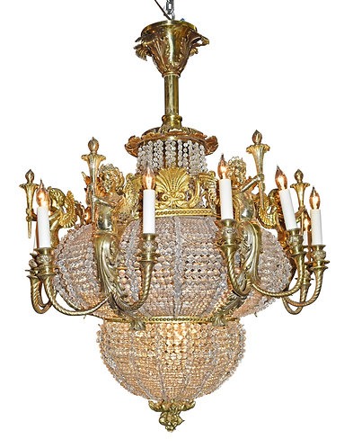 """Outstanding Winged Lady Bronze & Crystal Chandelier 41""""h x 31""""w"""