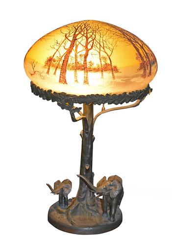 Bronze Figural Lamp W/ Elephants