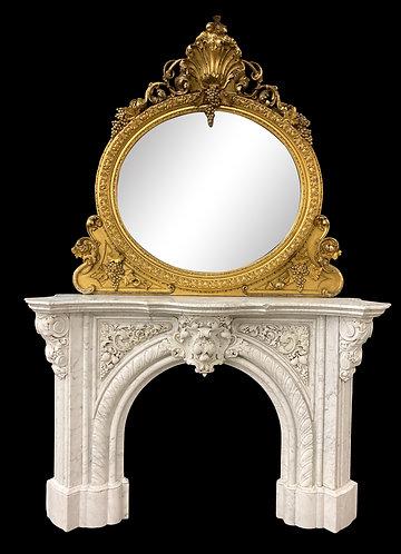 "The Best Carved Carrara Marble Mantel 48""h x 78""w 34"" Firebox"