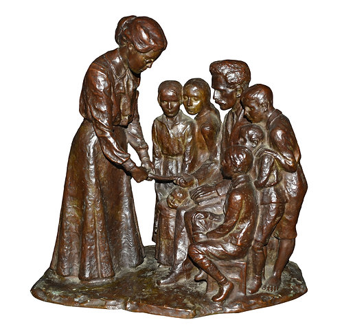 "Important Bronze Sculpture Attr: Helen Keller 18""h Signed Roman Bronze Works"