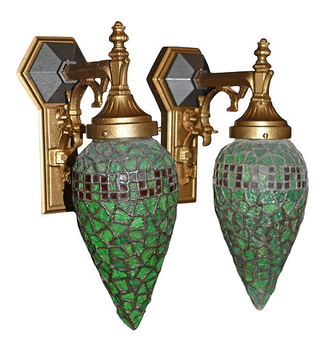 Very Attractive Wall Sconces w/ Original Heavy Leaded Glass Shades