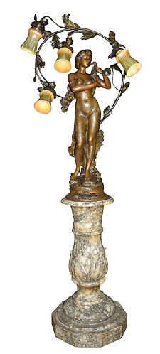 """Art Nouveau Statue Lamp  45""""h"""