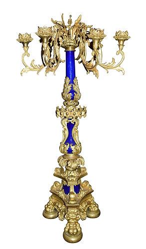 "Gilt Bronze and Porcelain Candelabra 38""h"