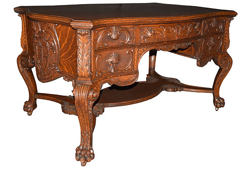 Carved Oak Desk - Original Finish