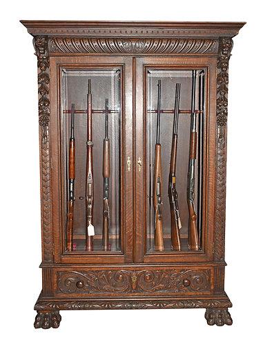 """Carved Oak Gun Cabinet 71""""h x 49""""w"""