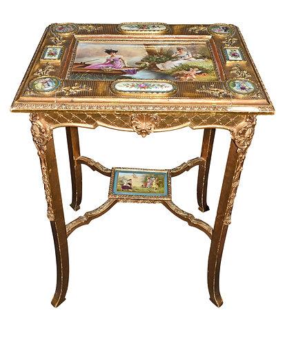 Gold Gilt Wood Table w/ Porcelain Plaques