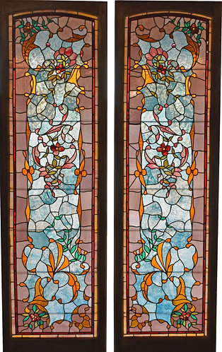"""Pair of Stained Glass Windows 21""""w x 77"""" each (Window Size)"""