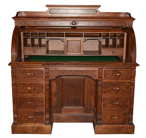 "Walnut Cylinder Desk 50""w x 66""h"
