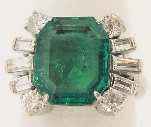 Emerald and Diamond Ring 3.54 cts