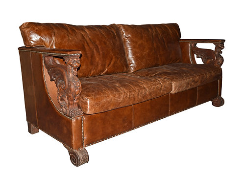 Carved Oak Winged Griffin Sofa w/ Leather Upholstery
