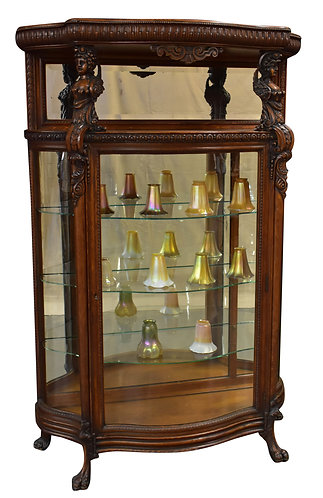 """Excellent Original Finish Oak Carved Lady China Cabinet 50""""w x 75""""h"""