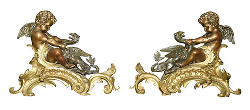 """Outstanding Pair of Bronze Chenets w/ Cherubs and Griffins 16""""h x 22""""w each"""