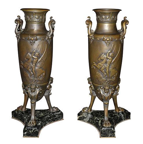 Pair of Bronze Figural Vases on Art Nouveau Base