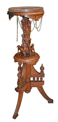 Walnut Victorian Plant Stand w/ Carved Dogs