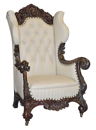 Karpen Winged Back Chair w/ Leather Upholstery