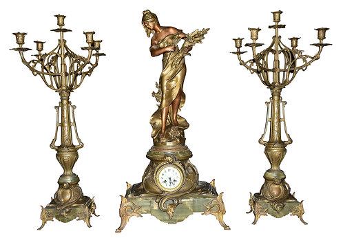 Palatial Size 3 Pc Art Nouveau Clock Set