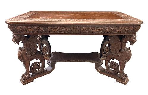 "Oak Winged Griffin Desk w/ Carved Top 55""w x 30""h"